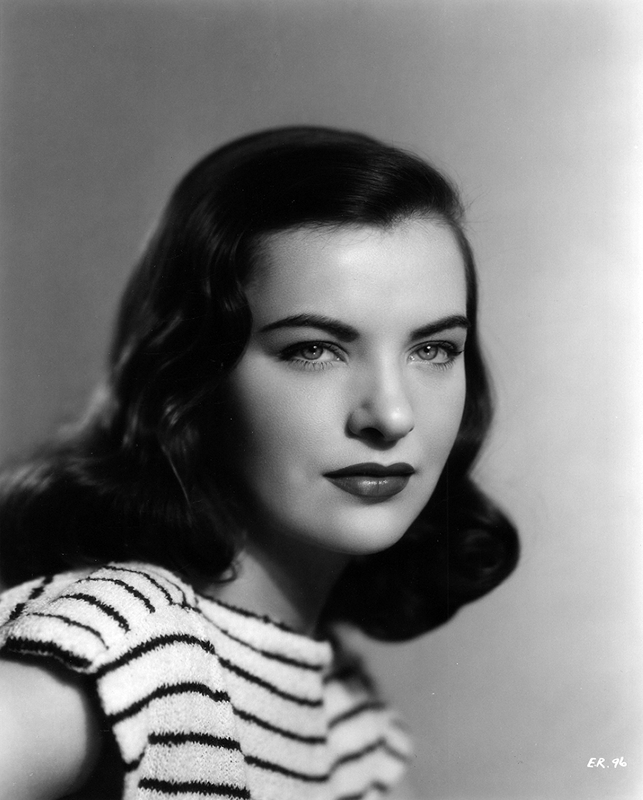 Ella Raines in a striped top