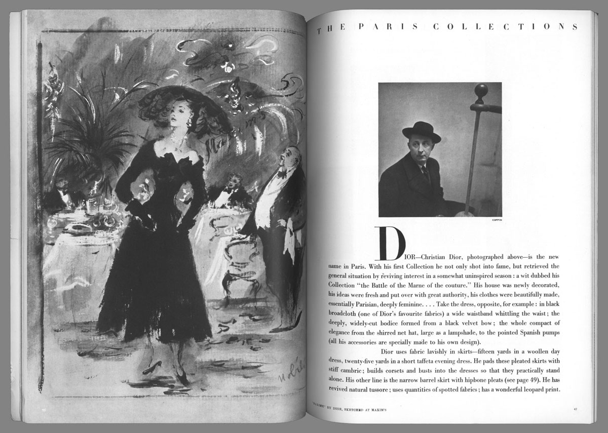 Paris after World War II – A double-page spread in Vogue introduces the New Look