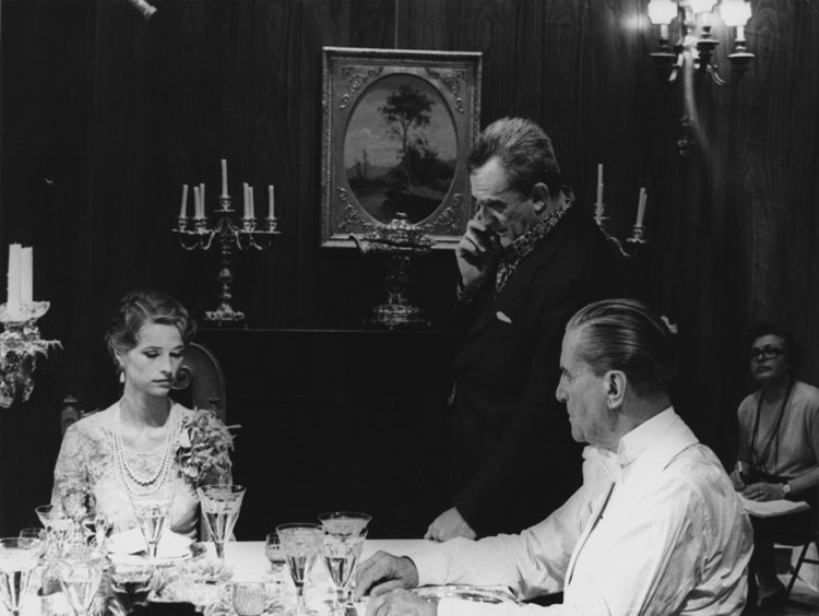 Luchino Visconti directing Charlotte Rampling and Reinhard Kolldehoff on the set of The Damned