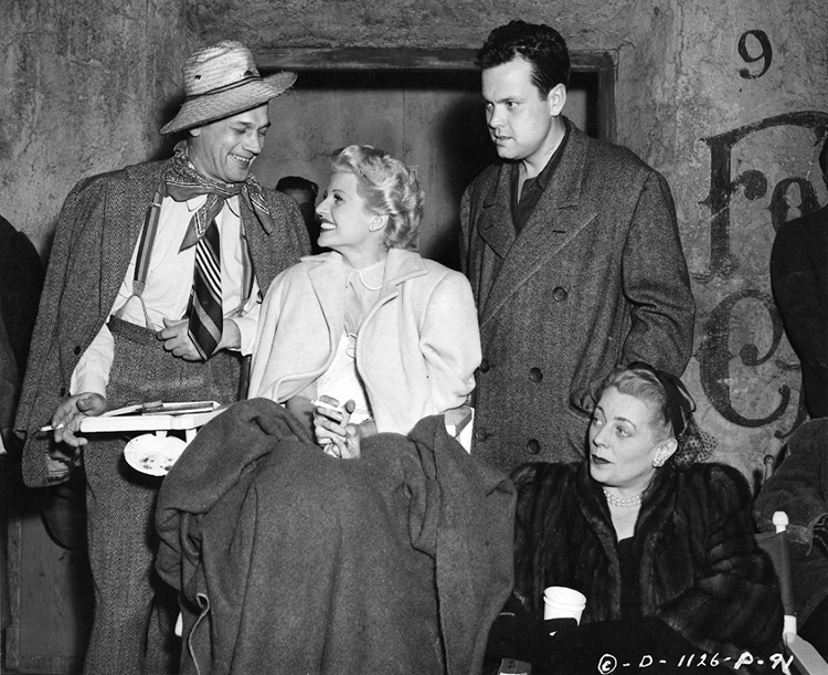 Joseph Cotton and his wife with Orson Welles and Rita Hayworth backstage on The Lady from Shanghai