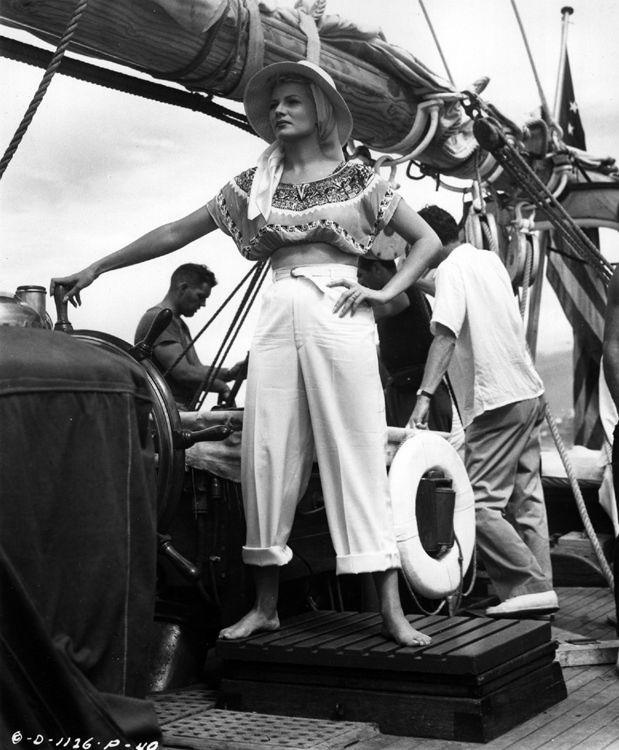 Rita Hayworth filming a location scene off the coast of Mexico for The Lady from Shanghai