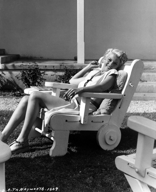 Rita Hayworth relaxes after completing The Lady from Shanghai