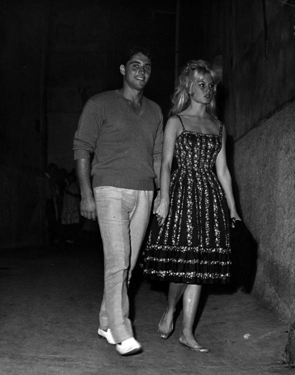 Brigitte Bardot goes for a stroll in Saint Tropez with Sacha Distel