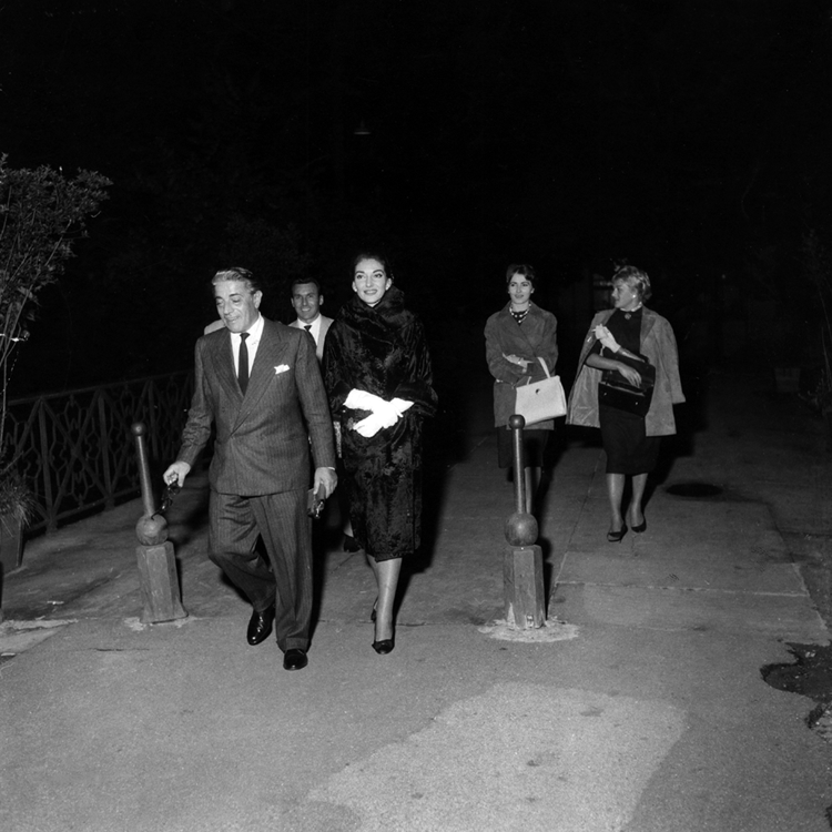 Aristotle Onassis and Maria Callas on their way to a nightclub in Milan