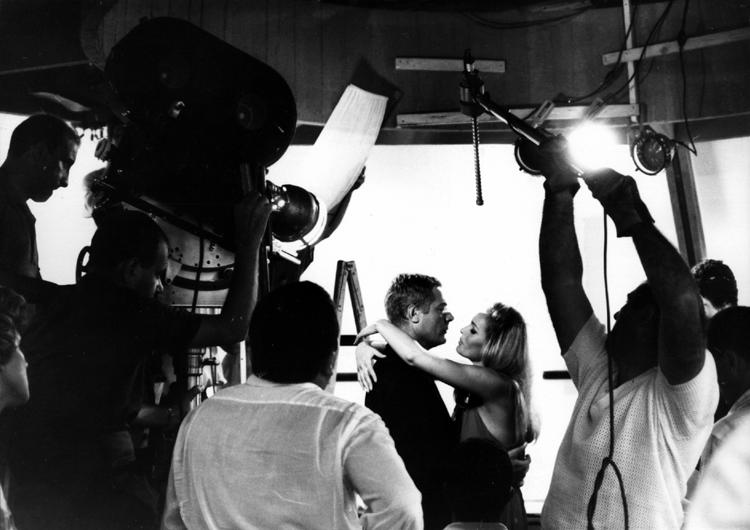 Marcello Mastroianni and Ursula Andress filming a scene for The 10th Victim