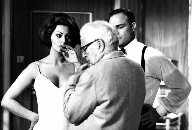 Charlie Chaplin, Sophia Loren and Marlon Brando on the set of A Countess from Hong Kong