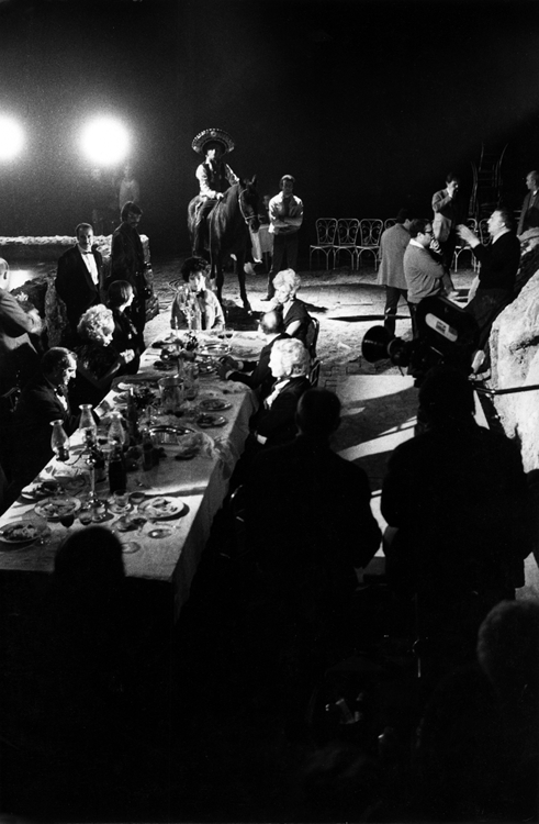 Federico Fellini on the set of Spirits of the Dead