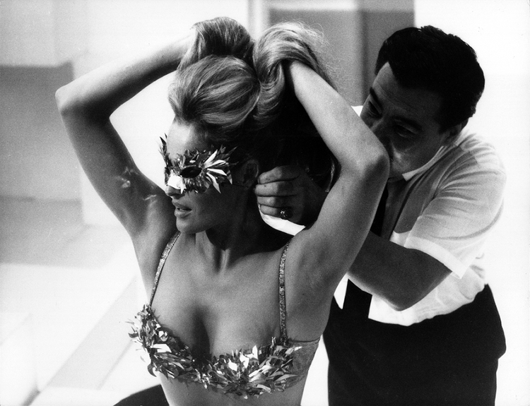 Ursula Andress preparing for a scene from The 10th Victim