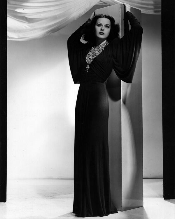 Hedy Lamarr modelling a Grecian gown