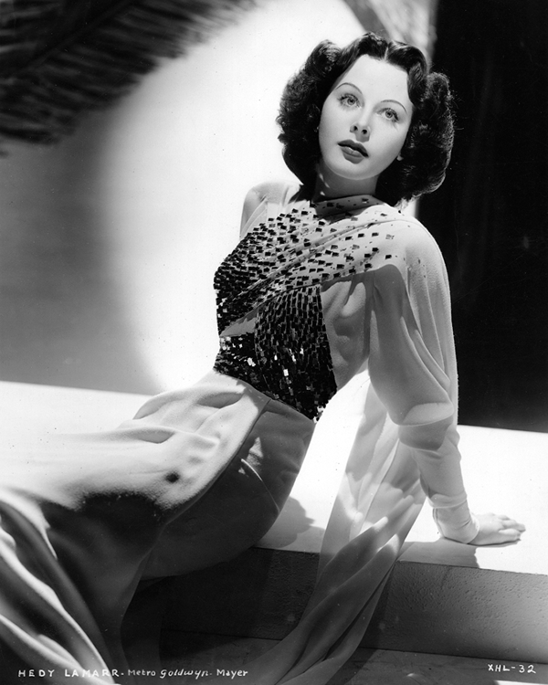 Hedy Lamarr in a dress decorated with spangles