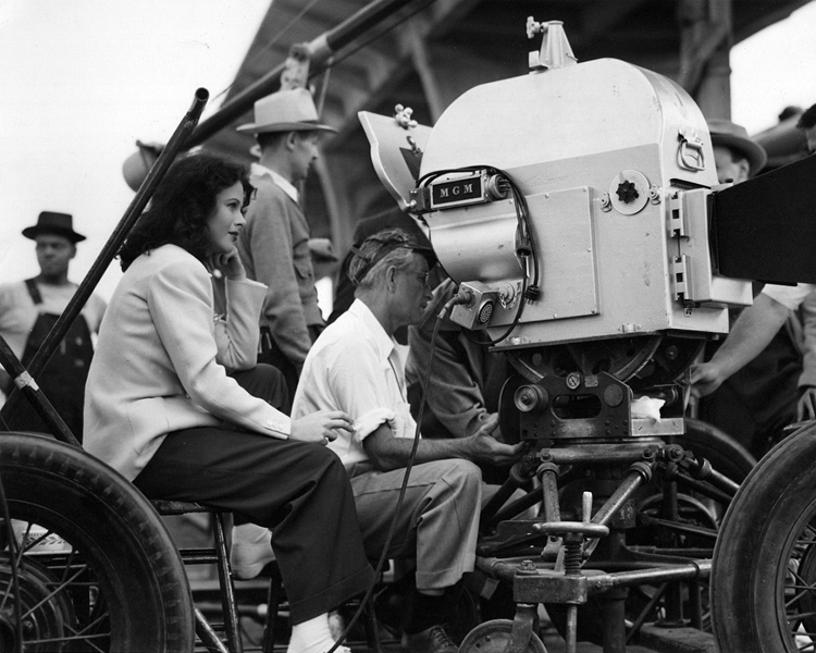 Hedy Lamarr with cinematographer Ray June on the set of Ziegfeld Girl