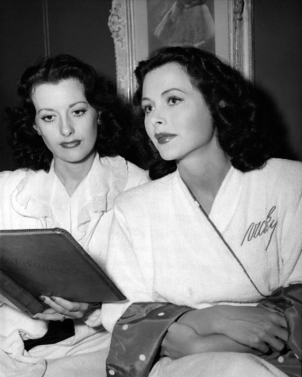 Hedy Lamarr with her stand-in, Sylvia Hollis, on the set of The Heavenly Body