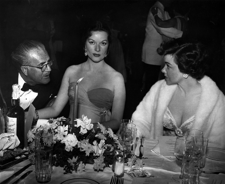 Cedric Gibbons, Hazel Brooks and Kathryn Grayson at the premiere of Showboat
