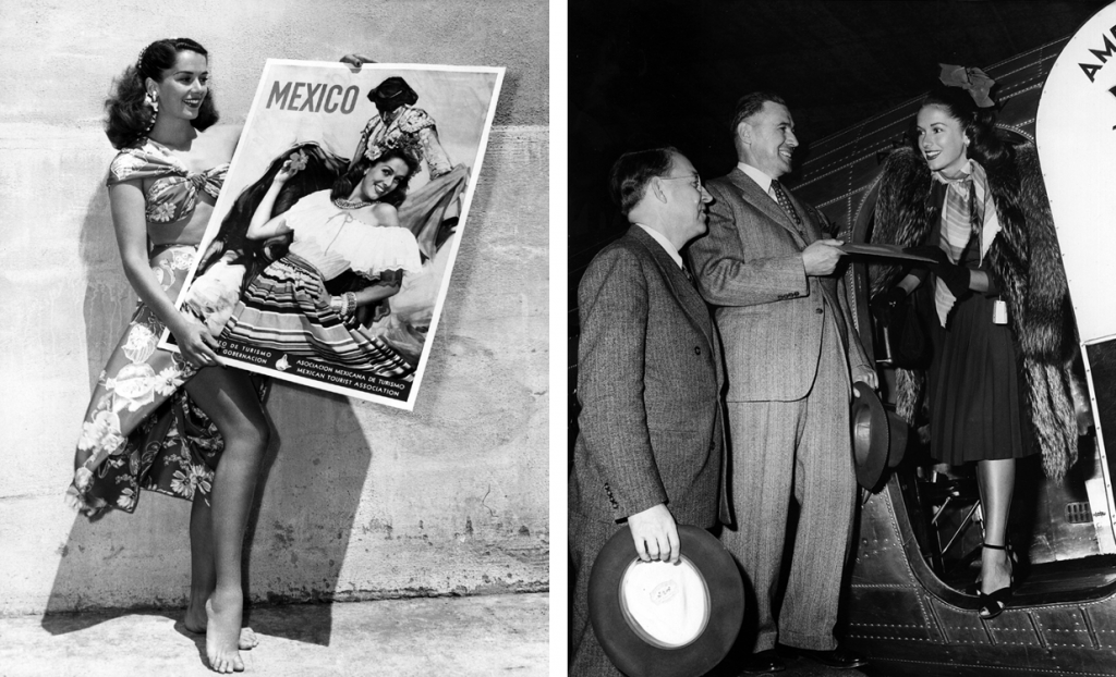 Two photos of Jinx Falkenburg, the first of her holding aloft a poster of herself promoting Mexico; the second of her with Vicente Peralta