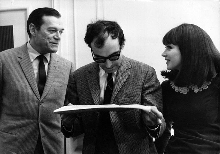 Eddie Constantine, Jean-Luc Godard and Anna Karina