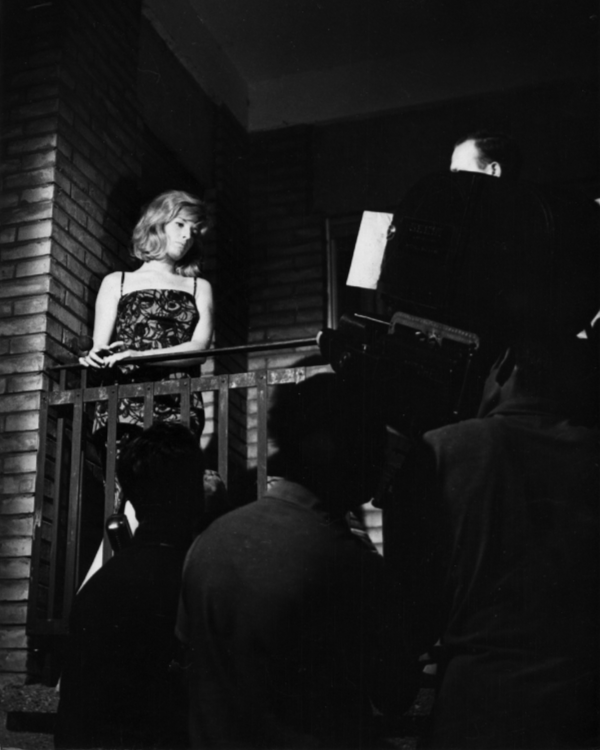 Monica Vitti filming a scene for L'eclisse