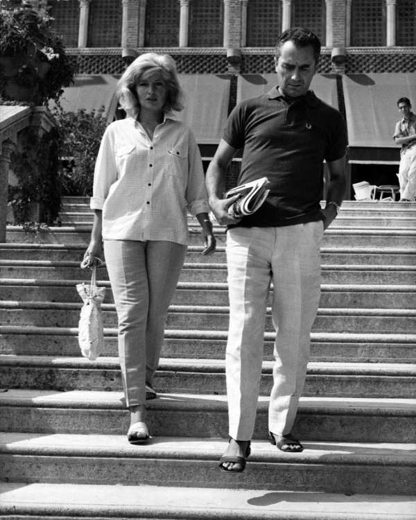 Monica Vitti and Michelangelo Antonioni outside the Excelsior Hotel, Venice
