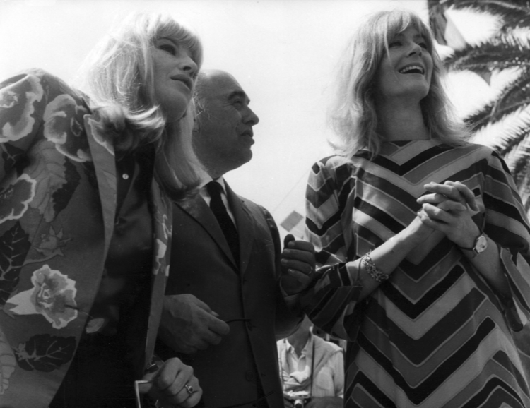 Monica Vitti with Carlo Ponti and Vanessa Redgrave in Cannes