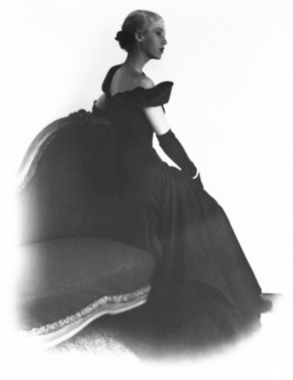 Andrea Johnson models an evening dress