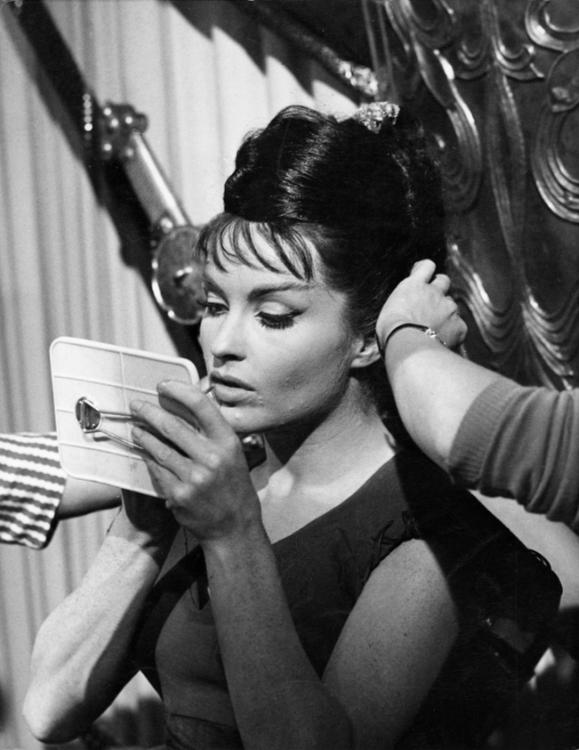 Yvonne Furneaux applies make-up