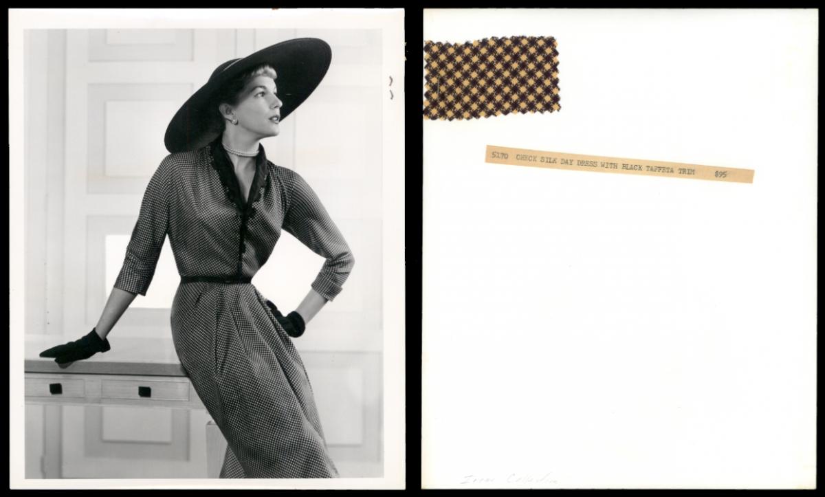 Check silk day dress with black taffeta trim by Irene Lentz